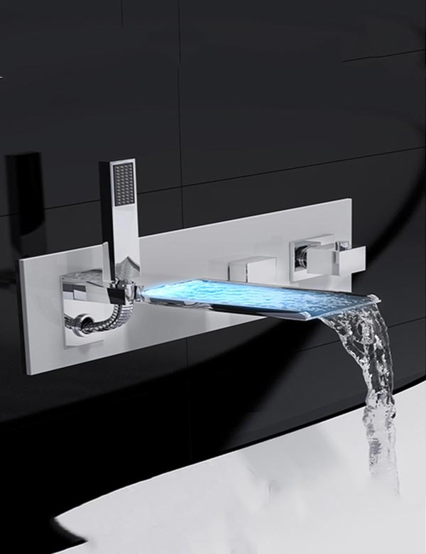 Tenzo Nissima Wall Mount Bathtub Faucet With Led And Hand